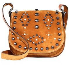 COACH 1941 Studded Suede Saddle Bag ($450) ❤ liked on Polyvore featuring bags, handbags, shoulder bags, apparel & accessories, tan, bohemian style handbags, boho shoulder bag, boho purse, bohemian shoulder bag and boho handbag