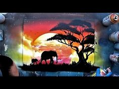 African sunset - Spray paint ART by Skech - YouTube
