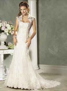 Slim-line Strapless Satin Lace Wedding Dresses