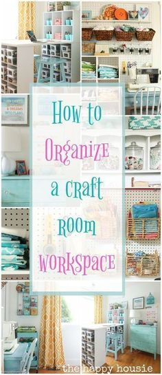 This is full of amazing ideas for how to organize a craft room or creative work space using thrifty and cute storage ideas and a step by step process. room How to Organize a Craft Room Work Space Sewing Room Organization, Craft Room Storage, Organization Hacks, Studio Organization, Craft Room Organizing, Organizing Ideas, Organized Craft Rooms, Pegboard Craft Room, Basement Craft Rooms