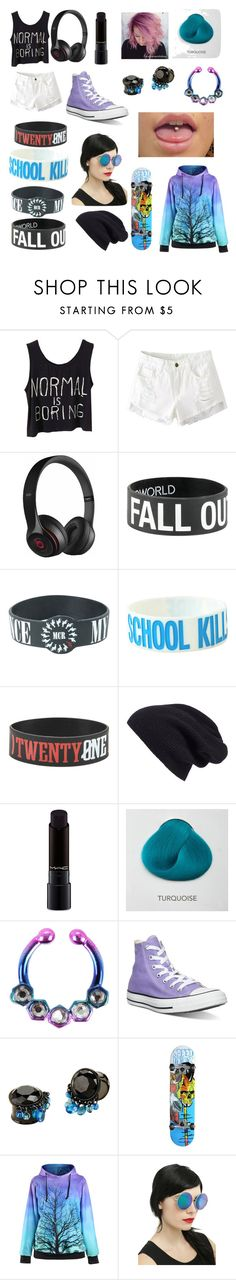 """Skater"" by lostboy1217 ❤ liked on Polyvore featuring WithChic, Beats by Dr. Dre, Halogen, MAC Cosmetics and Converse"