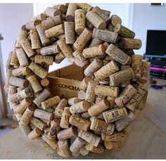 "Project from Crafting with Lolly: ""Kewl Cork Wreath"" by Lolly Chops. What you need. 12"" straw wreath,. Glue gun,. Glue sticks lots - I used 6..."