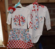 Twin boy and girl Thing 1 and Thing 2 clothing set. $50.00, via Etsy.