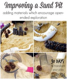 Improving a Sand Pit: Adding materials which encourage open-ended exploration Day 24 - 30 Days to Transform Your Play from An Everyday Story Outdoor Learning Spaces, Outdoor Play Areas, Outdoor Fun, Outdoor Ideas, Outdoor Spaces, Eyfs Outdoor Area, Outdoor Projects, Reggio Emilia, Sand Play