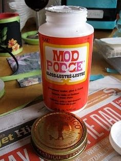 I LOVE Mod Poge.  Heres the ridiculously easy way to make it at home.  I smell a decoupage rampage coming on.... art-craft-projects
