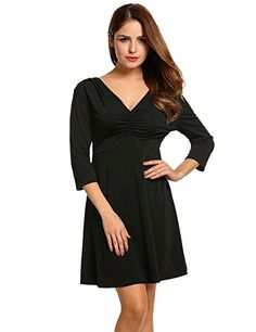 Zeagoo Womens Fashion V Neck Mini Dress Long Sleeve Cocktail Dress >>> Want to know more, click on the image.