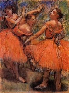 Edgar Degas - Les Jupes Rouges / The Red Ballet Skirts, c. Pastel on tracing paper, x cm Edgar Degas, Degas Ballerina, Renoir, Degas Paintings, Degas Drawings, Pastel Paintings, Pastel Art, Glasgow Museum, Art Ancien