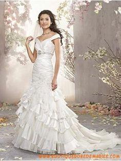 Robe de mariée sirène 2013 taffetas organza cristaux col V