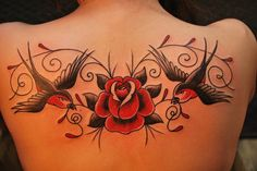 Swallow and rose tattoo - 50 Lovely Swallow Tattoos <3 !