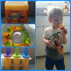 Just a little bit of summer fun for the kids!! Add as many gummy bears to SunnyD, let freeze over night and enjoy some SunnyD Popsicles!!!