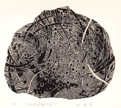 The Swirls of Beginning-1wood engraving print HAYASHI Takahiko 林孝彦 2015