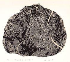 The Swirls of Beginning-1wood engraving printHAYASHI Takahiko 林孝彦 2015