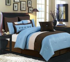 """Valentino 8 Piece Oversized Comforter Set, Blue / Chocolate, Queen Size by Home Collection. $69.99. Your room will liven up and a calm, sleek style can be portrayed through first glance, with these sophisticated Reversible Decorative pillows!. The natural blue and browns bring a soothing feel to any bedroom so you can sink into your overstuffed comforter and enjoy a long nights rest. Comes in a variety of colors: Machine Washable. The """"Valentino"""" bedding ensemble is the perfe..."""