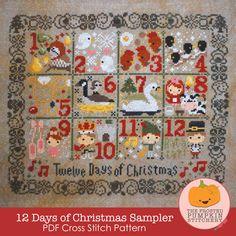 12 Days of Christmas PDF Cross Stitch Pattern / The Frosted Pumpkin Stitchery