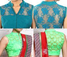 Green Net Blouse Designs