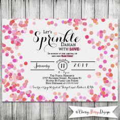 Baby Girl Sprinkle Shower Invite - Glitter Confetti Invite - 5x7 JPG