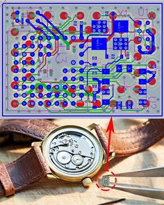 """IoT"" Looking back at some of the many crazy designs I have done here is one of the smallest. I helped a company in Hong Kong (http://ift.tt/1ejQrTU) develop this tiny Bluetooth device. We developed the world's smallest smart connected core for wearable and things. The device is the thing on the end of the tweezers circled. The circuit was simple as seen above but very small and powerful. The first product it was used on was smart watches. Check out their website. Circa 2015. #tbt #pcbdesign…"