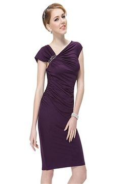 Slinky Asymmetrical Shoulder Cocktail Dress