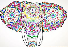 Elephant Greeting Card: Colorfully Designed Elephant-Face Card by TheSpeckledMoon on Etsy