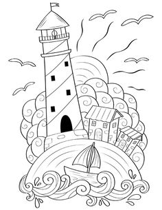 Printable Lighthouse Coloring Page Cute Coloring Pages, Printable Coloring Pages, Free Coloring, Adult Coloring Pages, Coloring Pages For Kids, Coloring Sheets, Coloring Books, Easy Drawings, Doodle Art