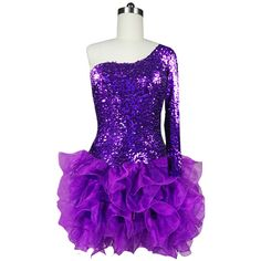 Short Shimmering Sequin Fabric Short Dress In Purple With One Sleeve... ($199) ❤ liked on Polyvore featuring dresses, short purple dresses, purple sequin dress, sequin mini dress, sequin cocktail dresses and one shoulder dress