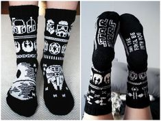 Knitted Star Wars socks Diy Crochet And Knitting, Loom Knitting, Knitting Socks, Baby Knitting, Knitting Patterns, Double Knitting, Mittens Pattern, Knit Mittens, Wool Socks
