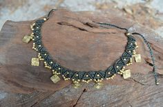 Macrame Necklace with Brass - Army Green - Tribal Necklace. by NatureSpiritDesigns on Etsy https://www.etsy.com/listing/245765868/macrame-necklace-with-brass-army-green