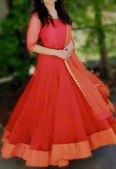 Custom made at Crystelle Boutique WhatsApp: ₹ 3000 Georgette gown with 6 mtr flair with raw cotton yoke and Georgette dupatta with mirror border Salwar Designs, Kurti Designs Party Wear, Long Gown Dress, Anarkali Dress, Anarkali Churidar, Long Anarkali, Indian Designer Outfits, Designer Dresses, Indian Outfits