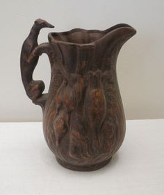 Vintage Brown Hunting Pitcher with Greyhound Handle