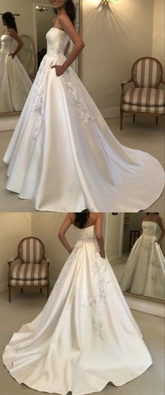 A-line strapless lace embroidery satin wedding dresses with pockets Wedding Dresses Near Me, Elegant Wedding Dress, Wedding Dress Styles, Bridal Dresses, Prom Dresses With Pockets, Wedding Dress With Pockets, Trends, Boho, Lace Embroidery