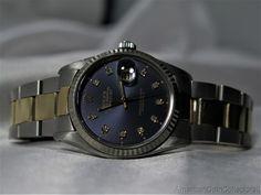 #Forsale #Rolex Mens Datejust 18k Gold Stainless #Rolex Datejust W Blue Diamond Dial 7782 #Auction @$2,600.00