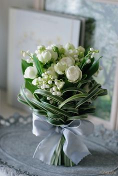 tulips, lily of the valley, greens