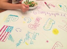 Gratitude Table Cloth: Yes, we actually used ours as a table cloth for a few days and kept adding more things we were grateful for to it!! MAKE YOUR FAMILY GRATITUDE TABLE CLOTH TODAY and start getting more grateful children!!