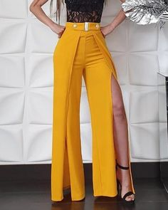 Solid High Waist Slit Leg Pants Source by Trend Fashion, Fashion Pants, Fashion Dresses, Womens Fashion, Fashion Design, Dope Fashion, Swag Fashion, Style Fashion, Classy Outfits