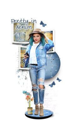 """""""Pretty in Denim"""" by likepolyfashion ❤ liked on Polyvore featuring art, denim, dollset and artset"""