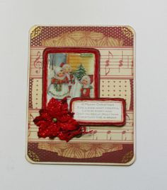 Carols and Poinsettias Christmas card by Paper Melody's