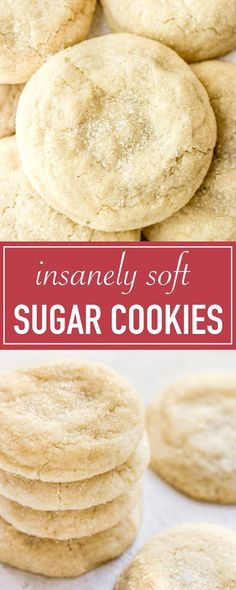 The best pillowy soft and chewy sugar cookie recipe! They taste just like childh… The best pillowy soft and chewy sugar cookie recipe! They taste just like childhood with a super soft, melt in your mouth texture. Great for the holidays! Soft Sugar Cookie Recipe, Chewy Sugar Cookies, Chewy Candy, Cookies Et Biscuits, Baking Cookies, Brownie Cookies, Healthy Sugar Cookies, Almond Sugar Cookies, Homemade Sugar Cookies