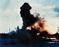 PEARL HARBOR ATTACK (12/2/1941) -- The forward magazines of USS Arizona (BB-39) explode after she was hit by a Japanese bomb.   Frame clipped from a color motion picture taken from on board USS Solace (AH-5) ~ Official U.S. Navy Photo / National Archives collection _____________________________ Reposted by Dr. Veronica Lee, DNP (Depew/Buffalo, NY, US)