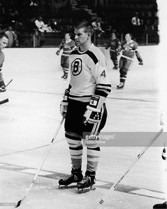Portrait of Canadian professional ice hockey player defenseman Bobby Orr of the Boston Bruins on the ice with stick, skates, and gloves during a game against the Montreal Canadiens, Boston, Massachusetts, October 24, 1966.