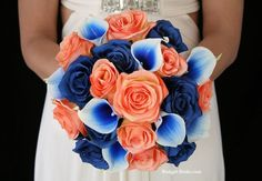 salmon and royal blue floral bouguets - Google Search