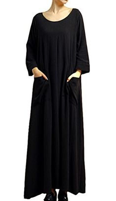 Mordenmiss Women's New Cotton Linen Casual Maxi Dresses with Pockets Black Mordenmiss http://www.amazon.com/dp/B0145ZF6D6/ref=cm_sw_r_pi_dp_6K8bxb0X9W8CP