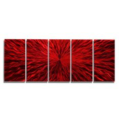 SALE Large Multi Panel Modern Metal Wall Art in Red Abstract