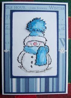 love these happy snowmen Homemade Christmas Cards, Christmas Cards To Make, Xmas Cards, Homemade Cards, Holiday Cards, Blue Christmas, Cards For Men Handmade, Handmade Birthday Cards, Card Making Inspiration