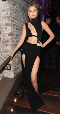 Gigi Hadid wore a Sally LaPointe skirt and House of CB bodysuit to the 2015 Victoria's Secret Fashion Show after party. Click for all the sexy looks