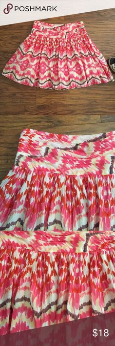 Watercolor skirt by Joe Fresh Size 8. Fully lined! Side zipper. Fun and comfy! 100% cotton. Joe Fresh Skirts A-Line or Full