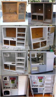Turn an old TV cabinet into a kid's kitchenette for jli mini house #repurposedfurnitureforkids