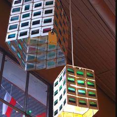 Hanging photo slides lamp