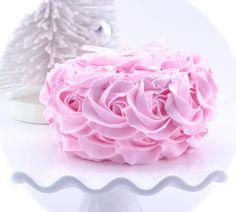 Pink mini Rosette Faux Cake Ornament