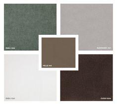 Leather: Pelle 404 Fabrics: Enea 1529 and 1520 Velvet: Eldorado 1551 Hide Leather: Cuoio 6004