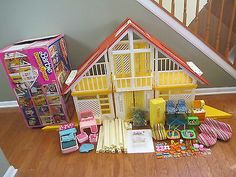 Barbie Vintage Dream House A Frame Yellow Red Complete Accessories Furniture Box